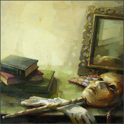Still Life with Mask and Books
